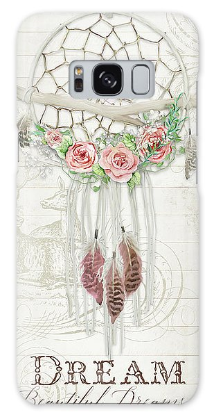 Galaxy Case featuring the painting Boho Western Dream Catcher W Wood Macrame Feathers And Roses Dream Beautiful Dreams by Audrey Jeanne Roberts