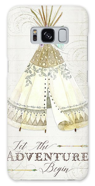 Galaxy Case featuring the painting Boho Western Teepee With Arrows N Feathers W Wood Tribal Border by Audrey Jeanne Roberts