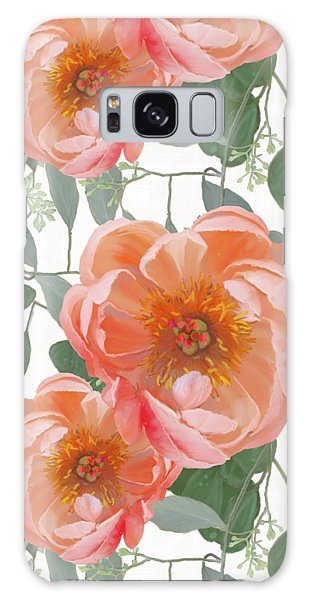 Bold Peony Seeded Eucalyptus Leaves Repeat Pattern Galaxy Case by Audrey Jeanne Roberts