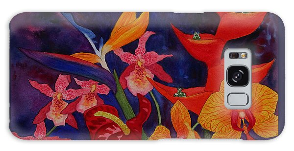 Bold Tropical Flowers Galaxy Case