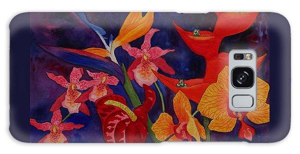 Bold Tropical Flowers Galaxy Case by Kerri Ligatich