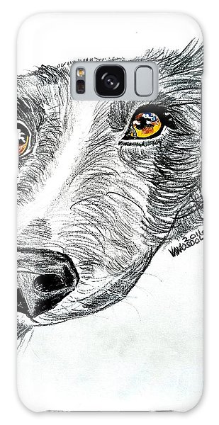 Border Collie Dog Colored Pencil Galaxy Case
