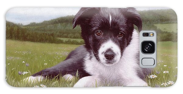 Border Collie Puppy Painting Galaxy Case by Rachel Stribbling