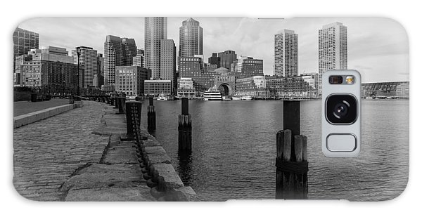 Boston Cityscape From The Seaport District In Black And White Galaxy Case
