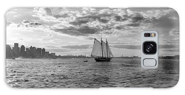 Boston Harbor Sailboat Boston Ma Black And White Galaxy Case