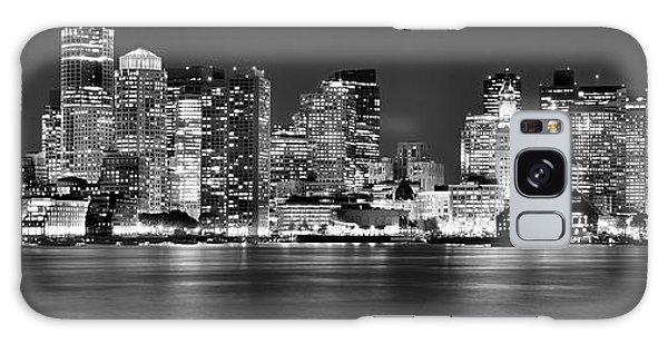 Boston Skyline At Night Panorama Black And White Galaxy Case