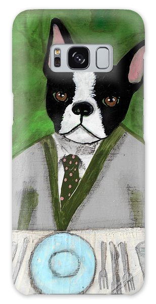 Boston Terrier At A Formal Dinner Galaxy Case