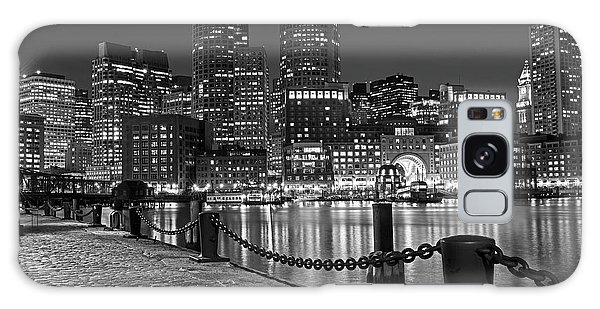 Boston Waterfront Boston Skyline Black And White Galaxy Case