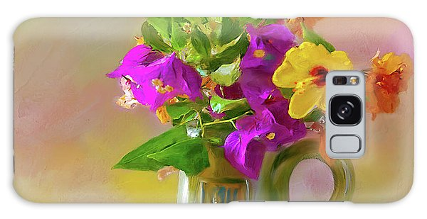 Bougainvilleas In A Green Jar. Galaxy Case