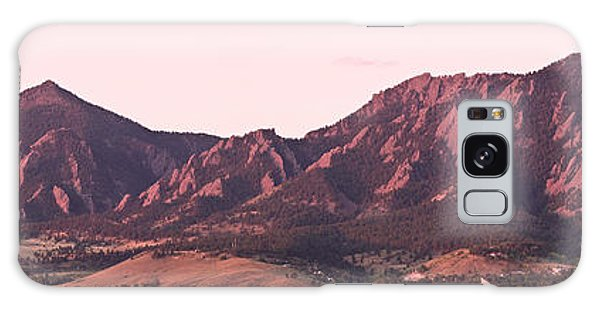 Boulder Colorado Flatirons 1st Light Panorama Galaxy Case