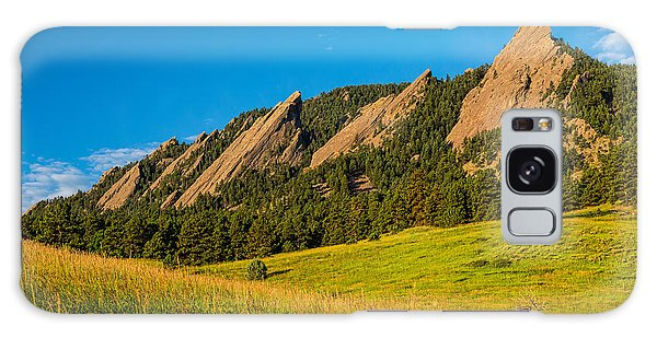 Boulder Colorado Flatirons Sunrise Golden Light Galaxy Case