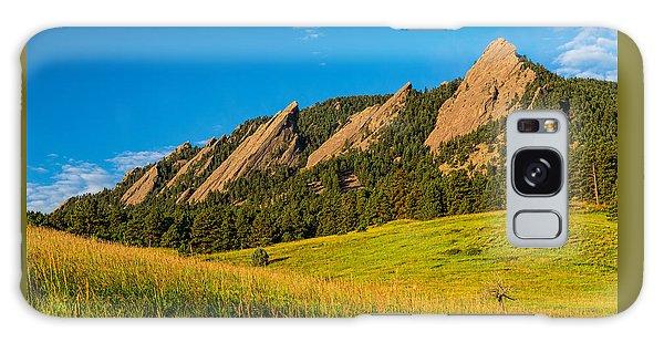 Boulder Colorado Flatirons Sunrise Golden Light Galaxy Case
