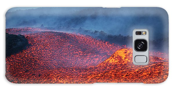 Chasm Galaxy Case - Boulder Rolling In Lava Flow At Dusk by Richard Roscoe
