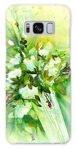 White Roses In Vase Galaxy Case