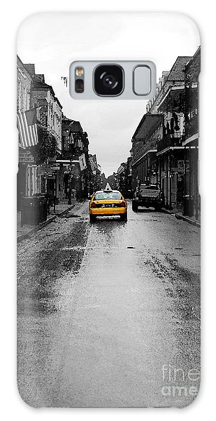 Bourbon Street Taxi French Quarter New Orleans Color Splash Black And White Watercolor Digital Art Galaxy Case