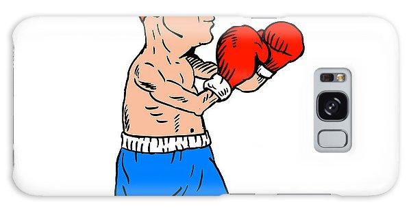 Sportsman Galaxy Case - Boxer Fighting Stance Cartoon by Aloysius Patrimonio
