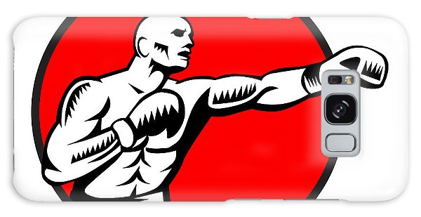Sportsman Galaxy Case - Boxer Jabbing Punching Circle Woodcut by Aloysius Patrimonio