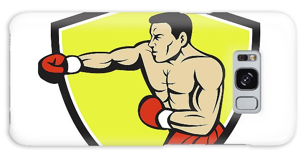 Sportsman Galaxy Case - Boxer Jabbing Punching Crest Cartoon by Aloysius Patrimonio