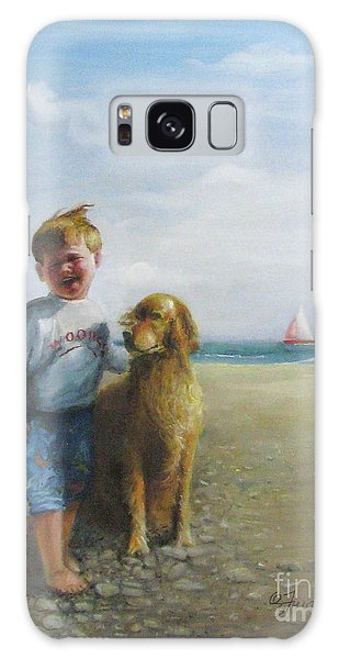 Boy And His Dog At The Beach Galaxy Case