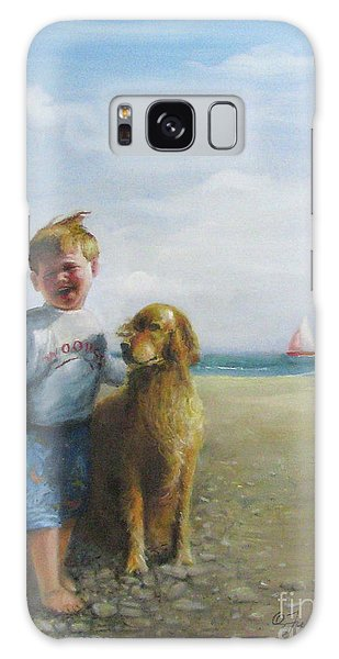 Boy And His Dog At The Beach Galaxy Case by Oz Freedgood