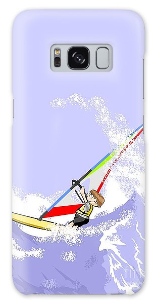 Boy Doing Extreme Windsurfing In The Middle Of A Stormy Sea Galaxy Case