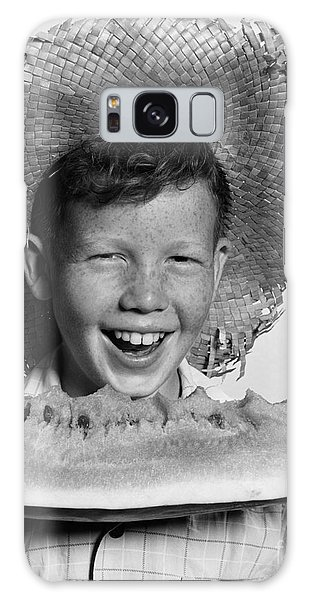 Boy Eating Watermelon, C.1940-50s Galaxy Case by H. Armstrong Roberts/ClassicStock