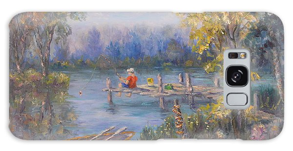 Boy Fishing On Dock And Boat On Lake Galaxy Case