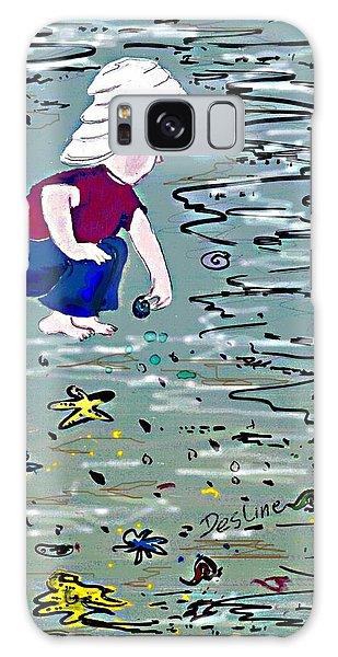 Boy On Beach Galaxy Case by Desline Vitto