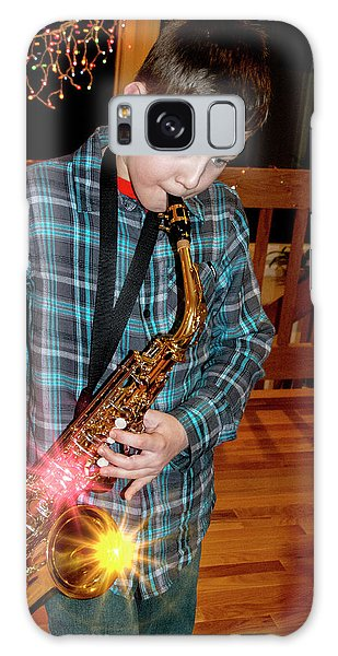 Boy Playing The Saxophone Galaxy Case