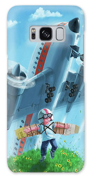 Boy With Airplane On Hilltop Galaxy Case