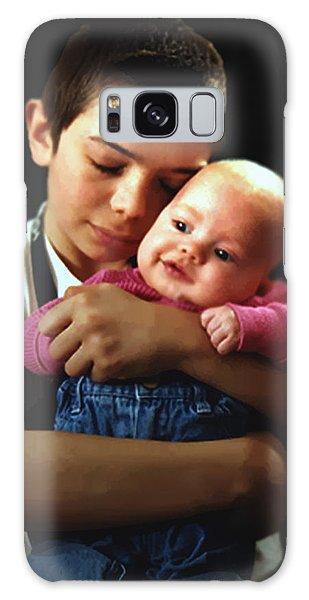 Boy With Bald-headed Baby Galaxy Case by RC deWinter