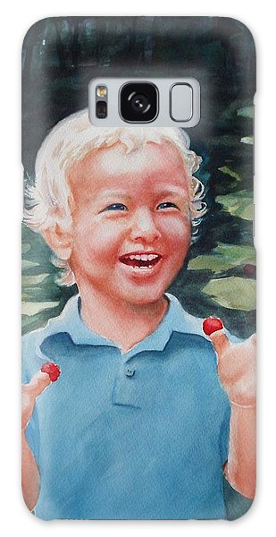 Boy With Raspberries Galaxy Case by Marilyn Jacobson