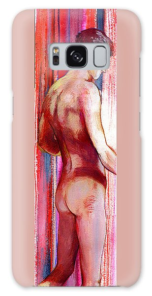 Boy With Vertical Lines Galaxy Case
