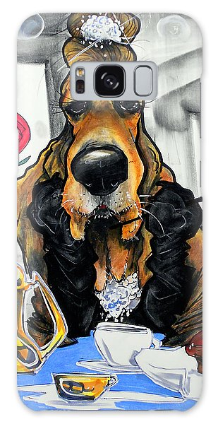 Breakfast At Tiffany's Basset Hound Caricature Art Print Galaxy Case