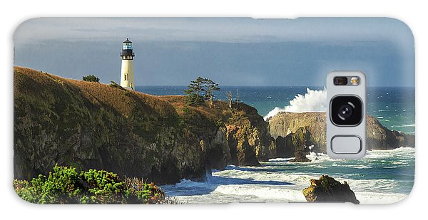 Breaking Waves At Yaquina Head Lighthouse Galaxy Case