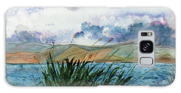 Brewing Storm Over Lake Watercolor Painting Galaxy Case