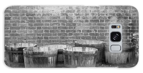 Royal Colony Galaxy Case - Brick Wall And Barrels B W by Teresa Mucha