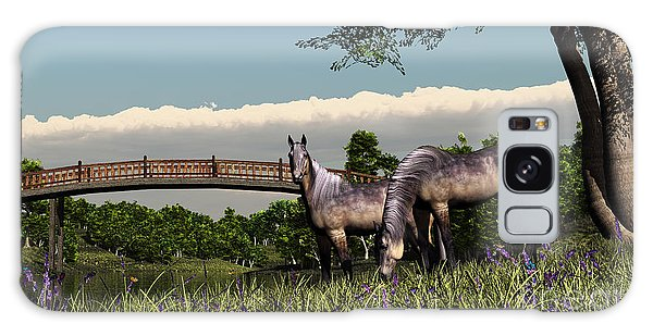 Bridge And Two Horses Galaxy Case by Walter Colvin