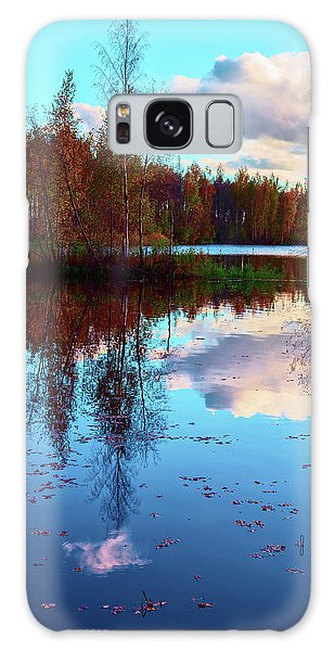 Bright Colors Of Autumn Reflected In The Still Waters Of A Beautiful Forest Lake Galaxy Case