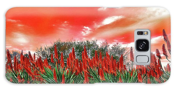 Galaxy Case featuring the photograph Bright Red Aloe Flowers By Kaye Menner by Kaye Menner