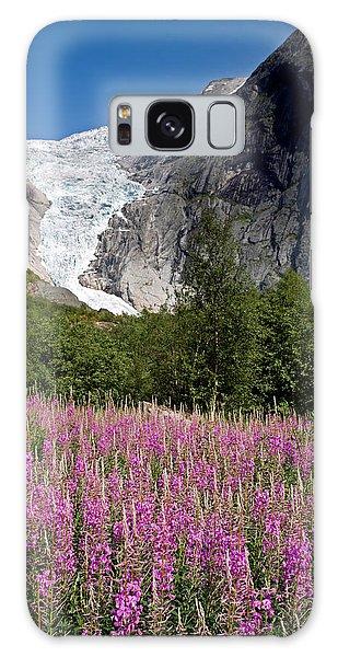 Briksdal Glacier And Wildflowers Galaxy Case