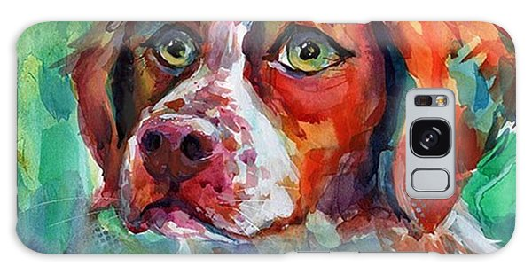 Galaxy Case - Brittany Spaniel Watercolor Portrait By by Svetlana Novikova