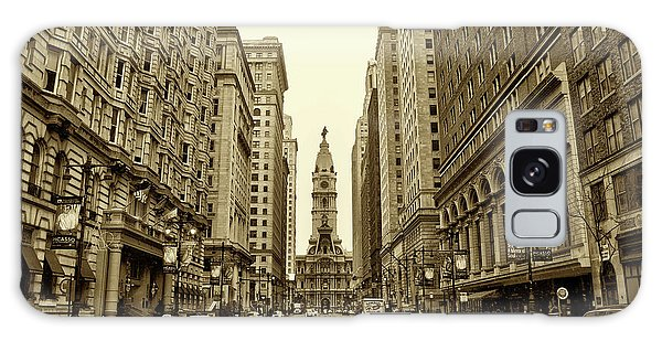 Broad Street Facing Philadelphia City Hall In Sepia Galaxy Case
