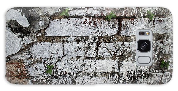 Broken Stucco Wall With Whitewashed Exposed Brick Texture And Ve Galaxy Case