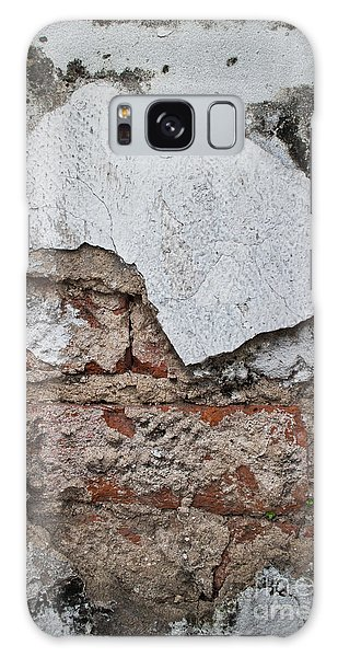 Broken White Stucco Wall With Weathered Brick Texture Galaxy Case