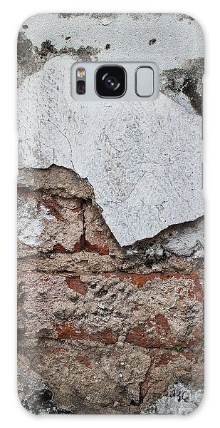 Broken White Stucco Wall With Weathered Brick Texture Galaxy Case by Jason Rosette