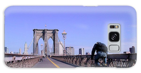 Brooklyn Bridge Bicyclist Galaxy Case