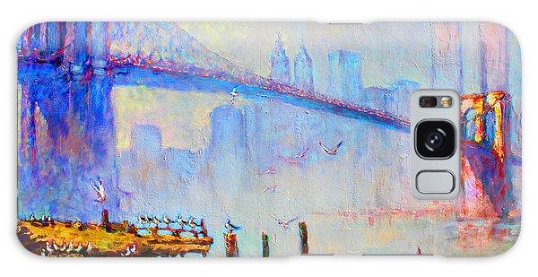 Center Galaxy Case - Brooklyn Bridge In A Foggy Morning by Ylli Haruni