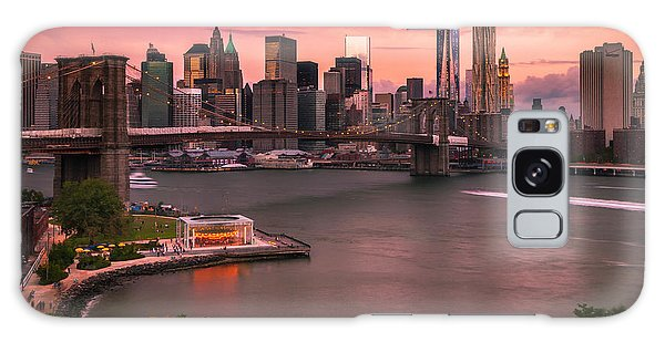 Brooklyn Bridge Over New York Skyline At Sunset Galaxy Case by Ranjay Mitra