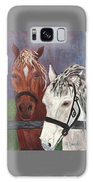 Brown And White Horses Galaxy Case